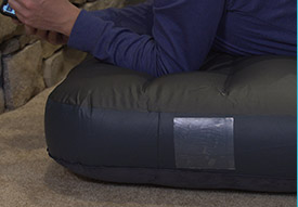 Adding adhesive to air mattress
